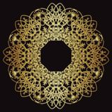 Gold lace pattern on a black background. Stock Images