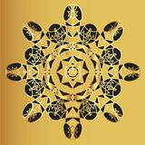 Gold lace pattern on a mustard background Stock Image