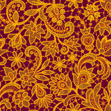 Gold lace on red background. Seamless pattern. Stock Photos