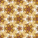 Gold lace seamless pattern with jewelry flower Royalty Free Stock Photos