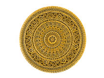 Gold lacquered metal art piece engraved in Thai floral design Stock Photo
