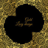 Gold lacy ornamental card design Royalty Free Stock Photos