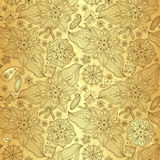 Gold lacy seamless pattern Stock Images