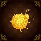 Gold ladybug icon with lace elegant ornament Royalty Free Stock Images