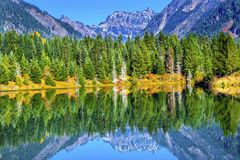 Gold Lake Reflection Mt Chikamin Peak Snoqualme Pass Washington. Gold Lake Reflection Mount Chikamin Peak Fall Snoqualme Pass Wenatchee National Forest Royalty Free Stock Images