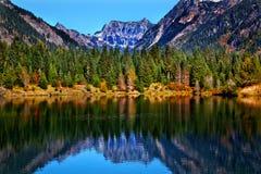 Gold Lake Reflection Mt Chikamin Washington Stock Photo