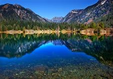 Gold Lake Reflection Mt Chikamin Washington Stock Photography