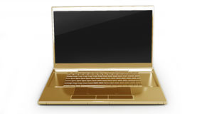 Gold laptop isolated on white Stock Photography
