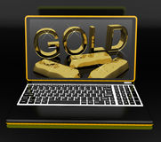Gold On Laptop Showing Treasury Stock Images