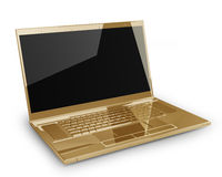 Gold laptop  on white Stock Photos
