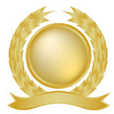 Gold laurel and banner royalty free stock photo
