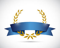 Gold laurel and blue ribbon. illustration design Stock Photos