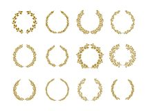 Gold laurel foliage wreath vector illustration set on white background stock illustration