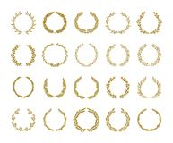 Gold laurel foliage wreath vector illustration set on white background royalty free illustration