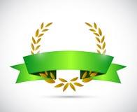 gold laurel and green ribbon. illustration design Stock Images