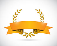 Gold laurel and orange ribbon. illustration design Stock Photos