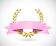 gold laurel and pink ribbon. illustration Stock Photography
