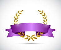 gold laurel and purple ribbon. illustration design Stock Photos