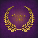 2014 Gold Laurel on purple. Gold laurel symbol on textured purple background for graduation 2014 Royalty Free Stock Photos