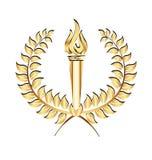 Gold laurel sport flames torch logo Royalty Free Stock Image