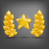 Gold laurel and star. Vector illustrations Royalty Free Stock Photos