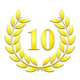Gold Laurel 10th Anniversary on a white background royalty free illustration