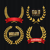 Gold Laurel Vector. Set Shine Wreath Award Design. Place For Text Stock Image