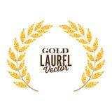 Gold Laurel Vector. Shine Wreath Award Design Royalty Free Stock Photos