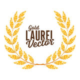 Gold Laurel Vector. Shine Wreath Award Design Stock Images