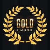 Gold Laurel Vector. Shine Wreath Award Design Stock Photos