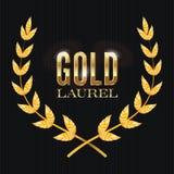Gold Laurel Vector. Shine Wreath Award Design Stock Image