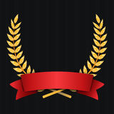 Gold Laurel Vector. Shine Wreath Award Design. Red Ribbon. Place For Text Stock Photography
