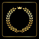 Gold laurel wheat wreath icon crown Royalty Free Stock Photo