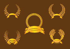 Gold Laurel Wreath. And banner on a brown background stock illustration