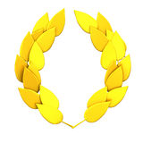 Gold laurel wreath 3d Stock Photography