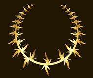 Gold laurel wreath on black background Stock Photos