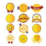 Gold laurel wreath emblem award. Stock Images