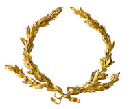 Gold laurel wreath isolated on white Royalty Free Stock Image