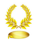 Gold laurel wreath and label for jubilee text Stock Photography