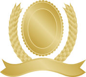 Gold laurel wreath and medallion Stock Image