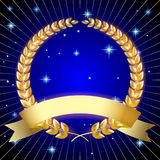 Gold laurel wreath with a ribbon on dark blue starry background Royalty Free Stock Image