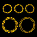 Gold Laurel Wreath Set on Black Background Stock Images