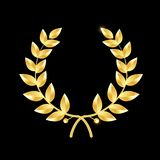 Gold laurel wreath. Symbol of victory and achievement. Design element for decoration of medal, award, coat of arms or stock illustration