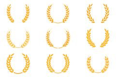 Gold laurel wreath - a symbol of the winner. Wheat ears or rice icons set. Agricultural symbols isolated on white background. Design elements for bread royalty free illustration