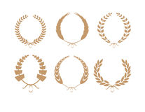 Gold Laurel Wreaths Vector Collection Stock Photo