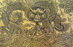 Gold leaf art of Chinese dragon Royalty Free Stock Image