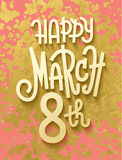 Gold leaf boho chic style march 8th greeting card Stock Images