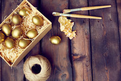 Gold leaf for Easter creativity Royalty Free Stock Photos