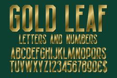 Gold leaf font of letters, numbers with currency signs of dollar and euro. Isolated typographic symbols.  vector illustration