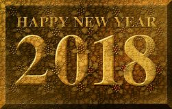Happy New Year 2018 Holly Gold Leaf Stock Images
